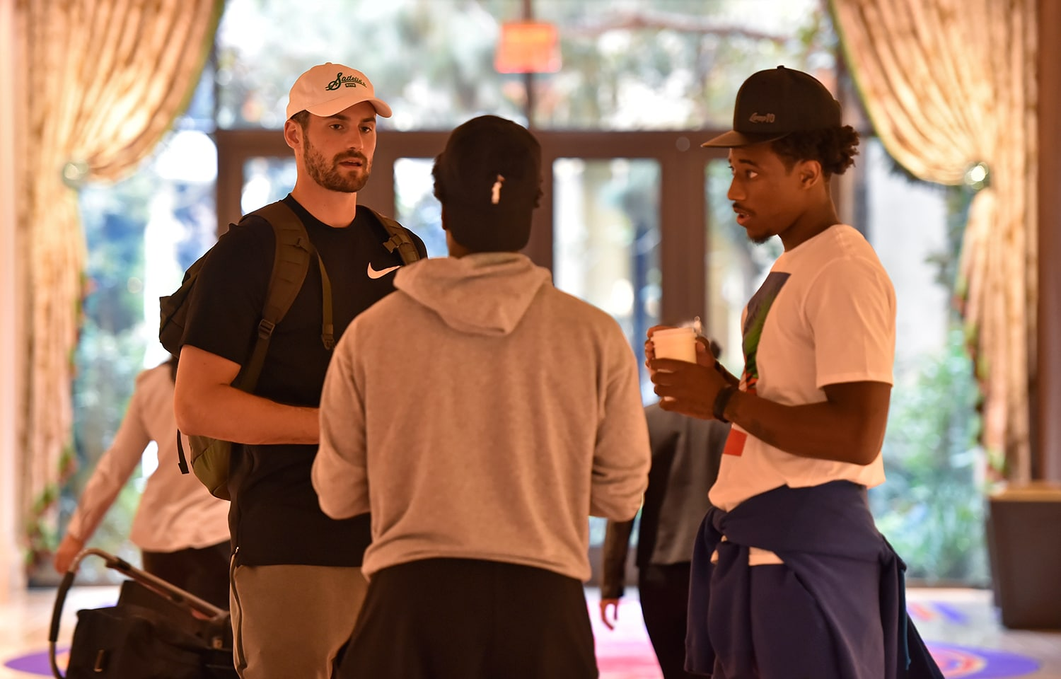 LAS VEGAS, NV - JULY 25: Kevin Love, DeMar DeRozan and Kyle Lowry talk at USAB Minicamp in Las Vegas, Nevada at the Wynn Las Vegas on July 25, 2018. (David Becker/NBAE via Getty Images)