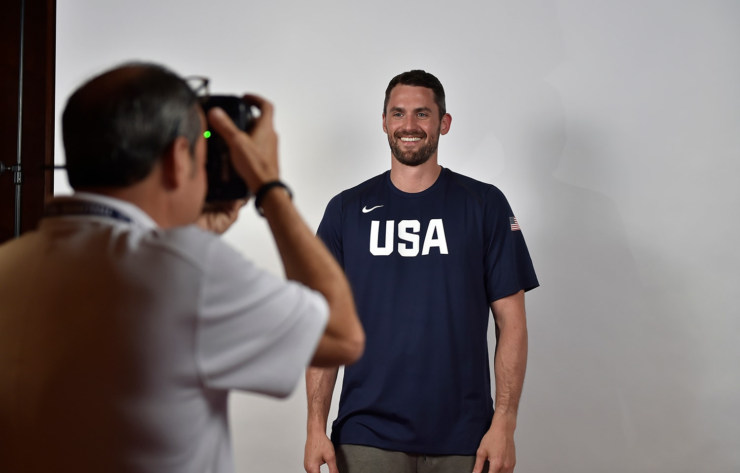 LAS VEGAS, NV - JULY 25: A behind the scenes photo of Kevin Love taking a head shot at USAB Minicamp in Las Vegas, Nevada at the Wynn Las Vegas on July 25, 2018. (David Becker/NBAE via Getty Images)