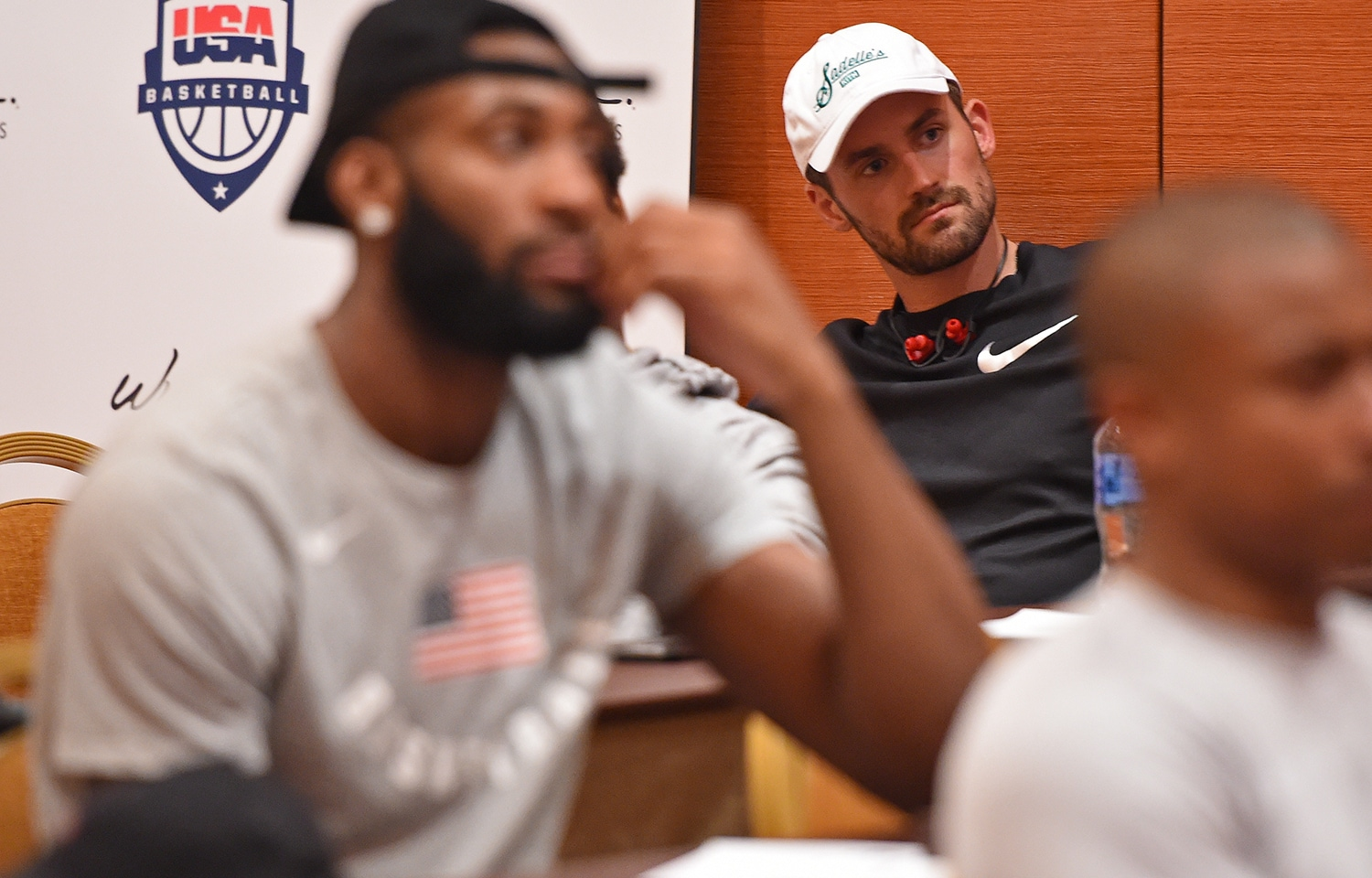 LAS VEGAS, NV - JULY 25: Kevin Love looks on during a team meeting at USAB Minicamp in Las Vegas, Nevada at the Wynn Las Vegas on July 25, 2018.(Andrew D. Bernstein/NBAE via Getty Images)
