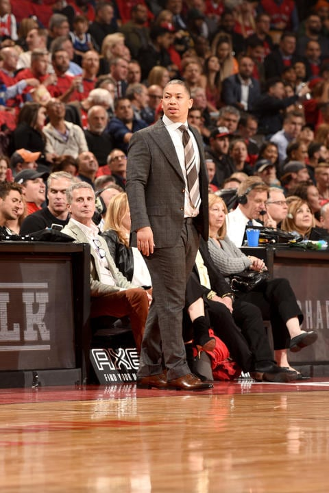 TORONTO, CANADA - OCTOBER 17: Head Coach Tyronn Lue of the Cleveland Cavaliers looks on during the game against the Toronto Raptors on October 17, 2018 at Scotiabank Arena in Toronto, Ontario, Canada. (Ron Turenne/NBAE via Getty Images)