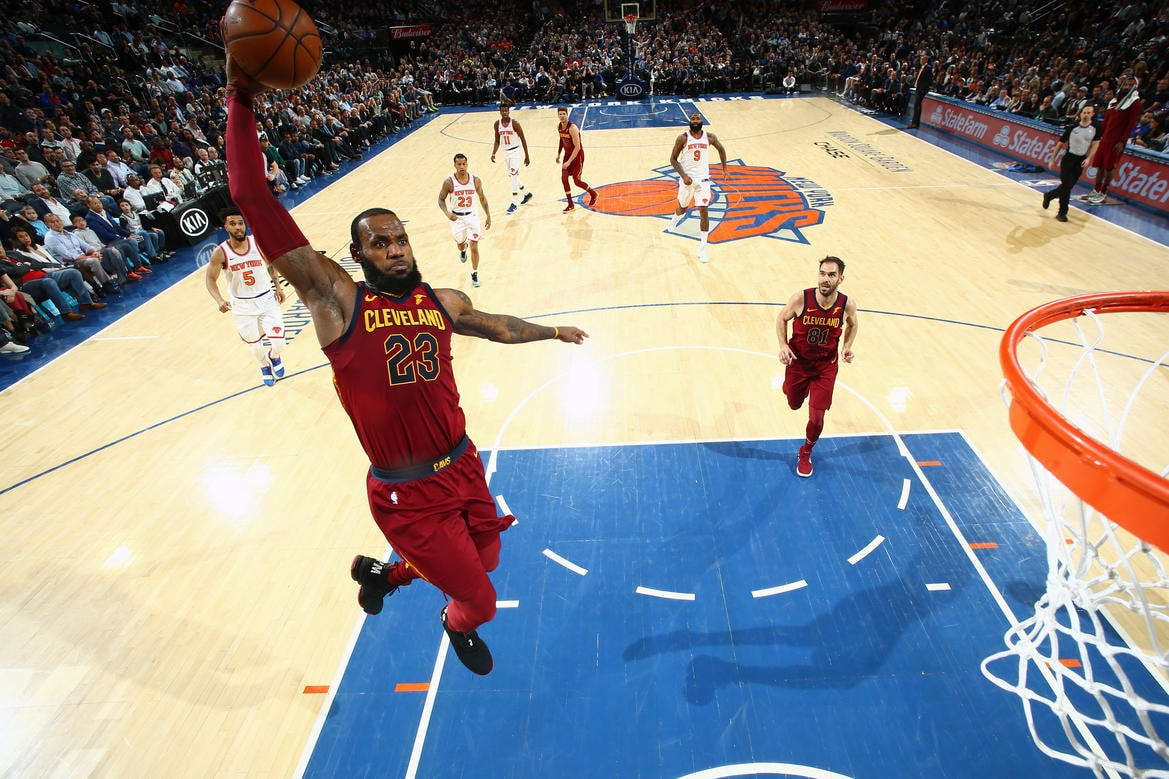 sports shoes 9fe90 5b35e NEW YORK, NY - APRIL 9  LeBron James  23 of the Cleveland Cavaliers