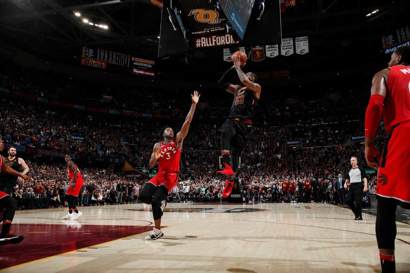 The Cavaliers shot 595 percent from the floor the Raptors 543 Both teams scored at least 23 points in every quarter and the Cavaliers scored at least