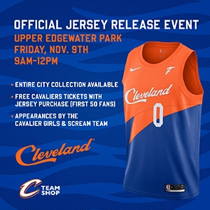"a504b4efb 9 00 a.m. – Noon The Cavaliers Team Shop ""Travelier"" will be located at  upper Edgewater Park near the Cleveland script sign. The entire City Edition  ..."