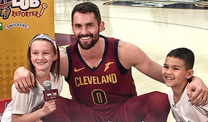 Kevin Love with Cavs Jr. Reporters