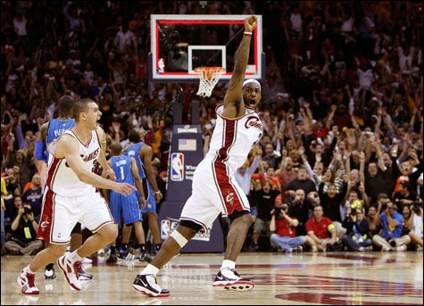 fb435f22b309 LeBron James  23 and Sasha Pavlovic  3 of the Cleveland Cavaliers celebrate  after James