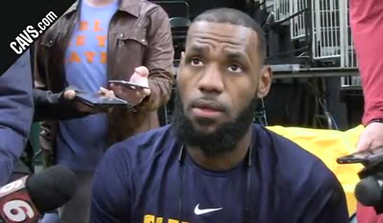 Hear from LBJ at #CavsPacers Game 3 Shootaround