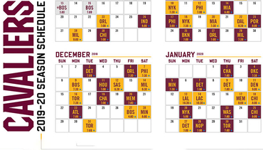 photograph regarding Cavs Printable Schedule named 2019-20 Cleveland Cavaliers Agenda
