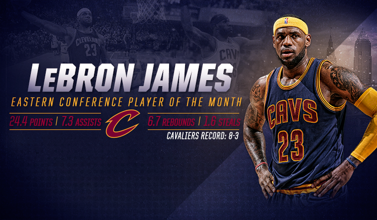 5579e93d082a LeBron James Named Kia NBA Eastern Conference Player of the Month: February  2015
