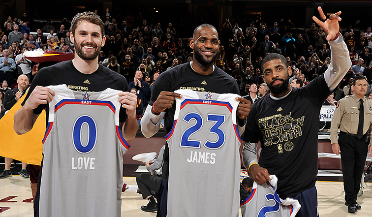 Kevin Love, LeBron James, Kyrie Irving