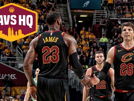 CavsHQ logo with LeBron James, Kyle Korver and Larry Nance