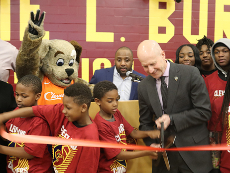 Cavs and City Unveil Refurbished Court at Lonnie Burten