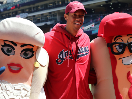 Channing Frye Tosses First Pitch at Indians Game
