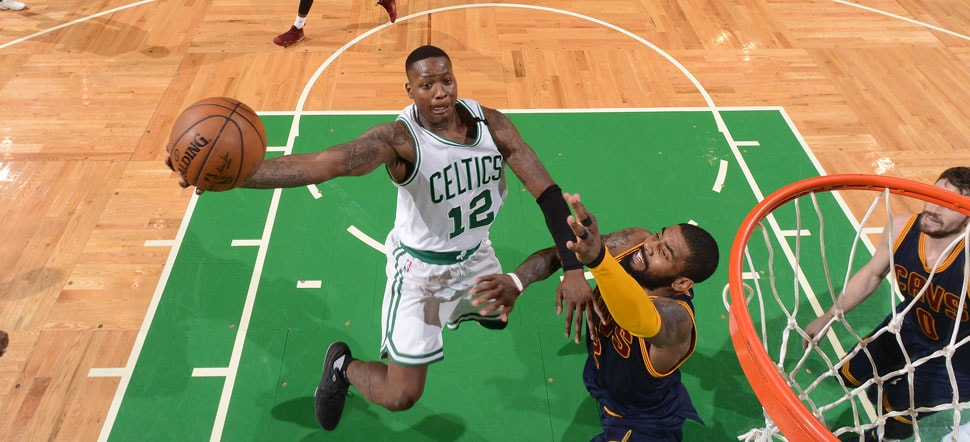 Terry Rozier shoots a layup against Cleveland