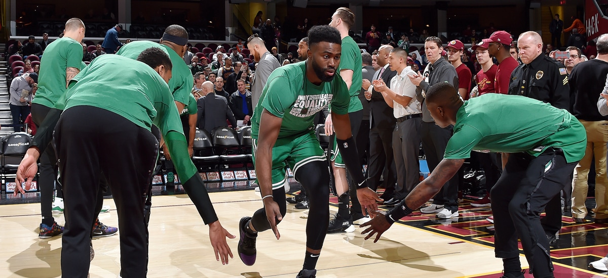 Jaylen Brown slaps hands during starting lineup announcements