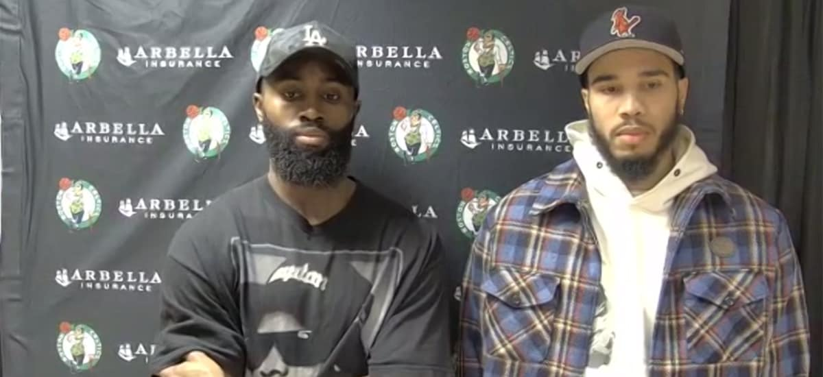 Jaylen Brown and Jayson Tatum stand side-by-side while discussing the riots in Washington, DC