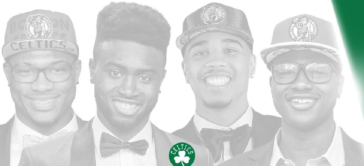 Marcus Smart, Jaylen Brown, Jayson Tatum and Terry Rozier look at the camera on their individual draft nights