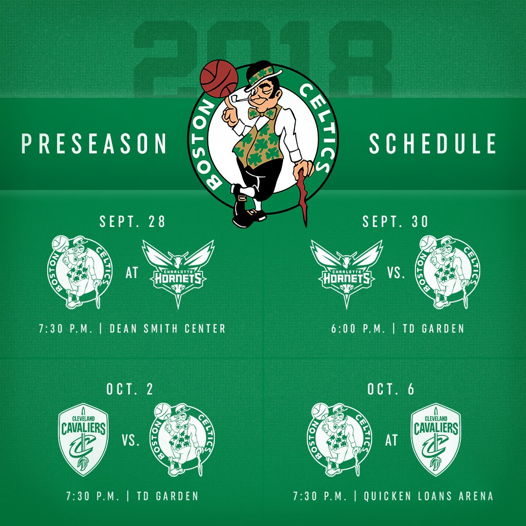 2018 preseason schedule | boston celtics