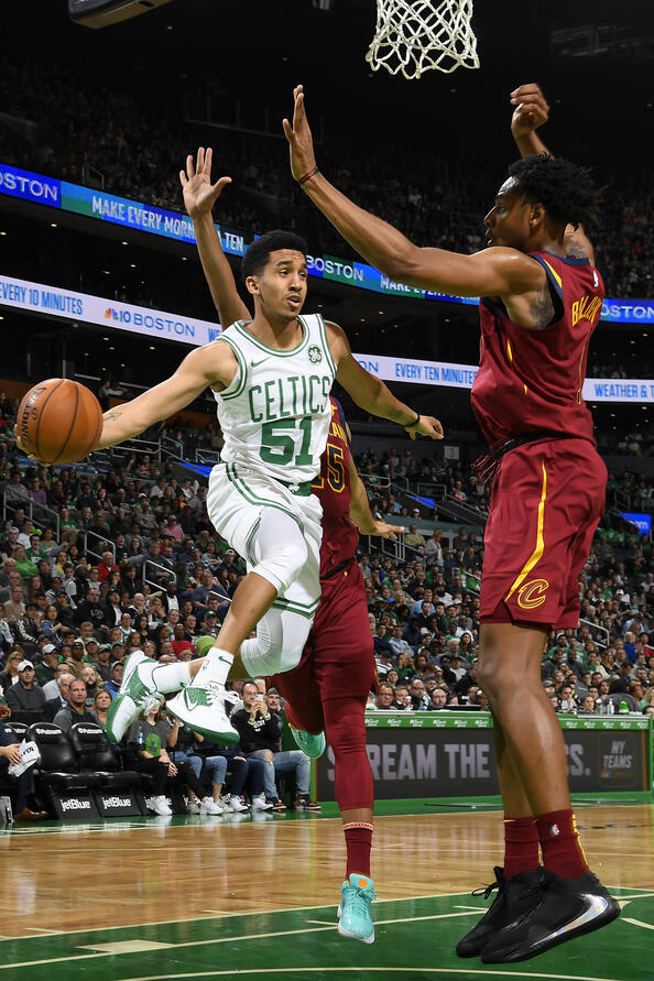BOSTON, MA - OCTOBER 13: Tremont Waters #51 of the Boston Celtics passes the ball against the Cleveland Cavaliers during a pre-season game on October 13, 2019 at the TD Garden in Boston, Massachusetts. (Brian Babineau/NBAE via Getty Images)