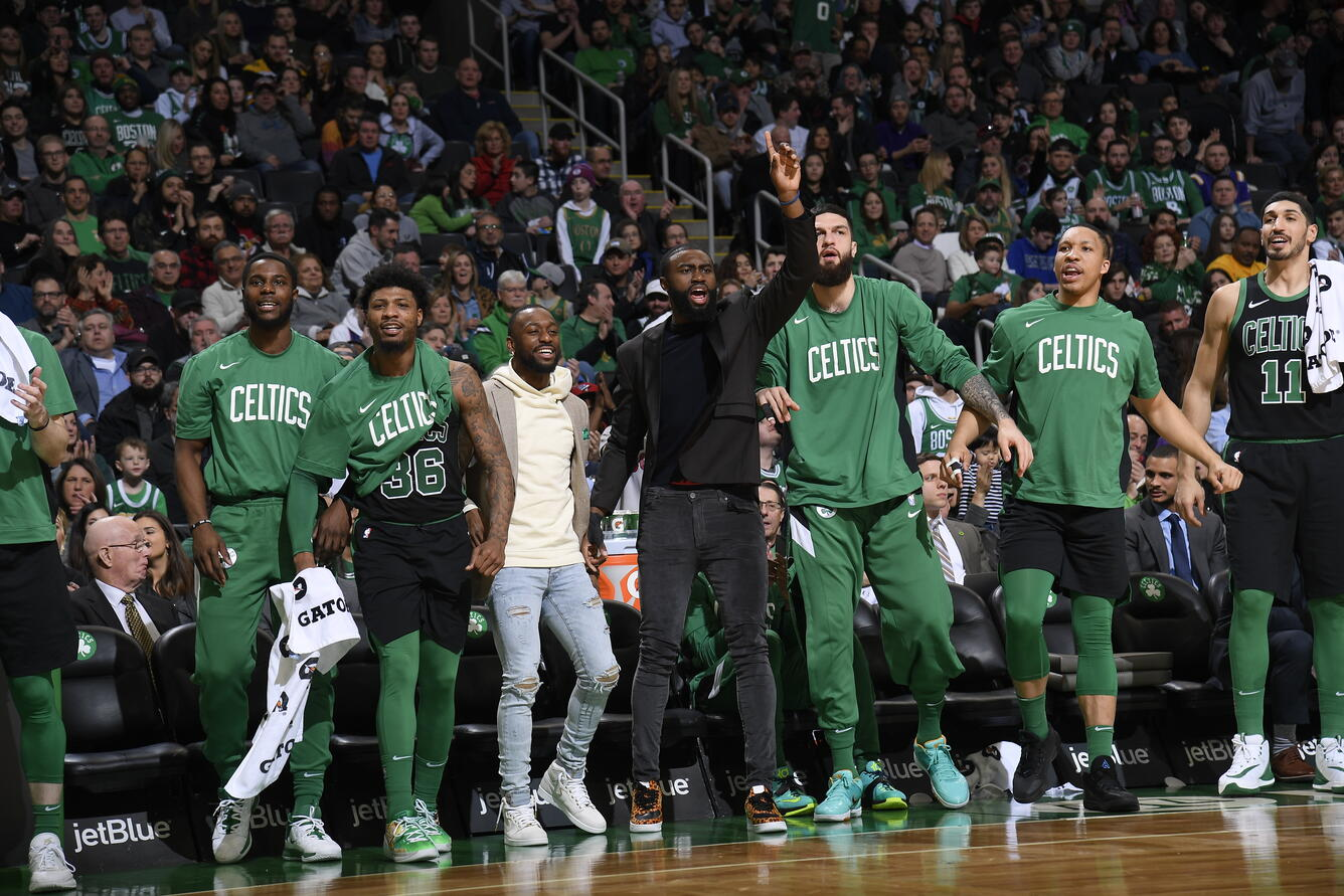 BOSTON, MA - JANUARY 18: The Boston Celtics bench reacts to a play during a game against the Phoenix Suns on January 18, 2020 at the TD Garden in Boston, Massachusetts. (Brian Babineau/NBAE via Getty Images)