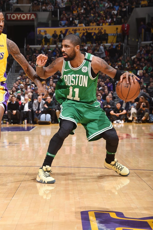 LOS ANGELES, CA - JANUARY 23: Kyrie Irving #11 of the Boston Celtics handles the ball during the game against the Los Angeles Lakers on January 23, 2018 at STAPLES Center in Los Angeles, California. (Andrew D. Bernstein/NBAE via Getty Images)
