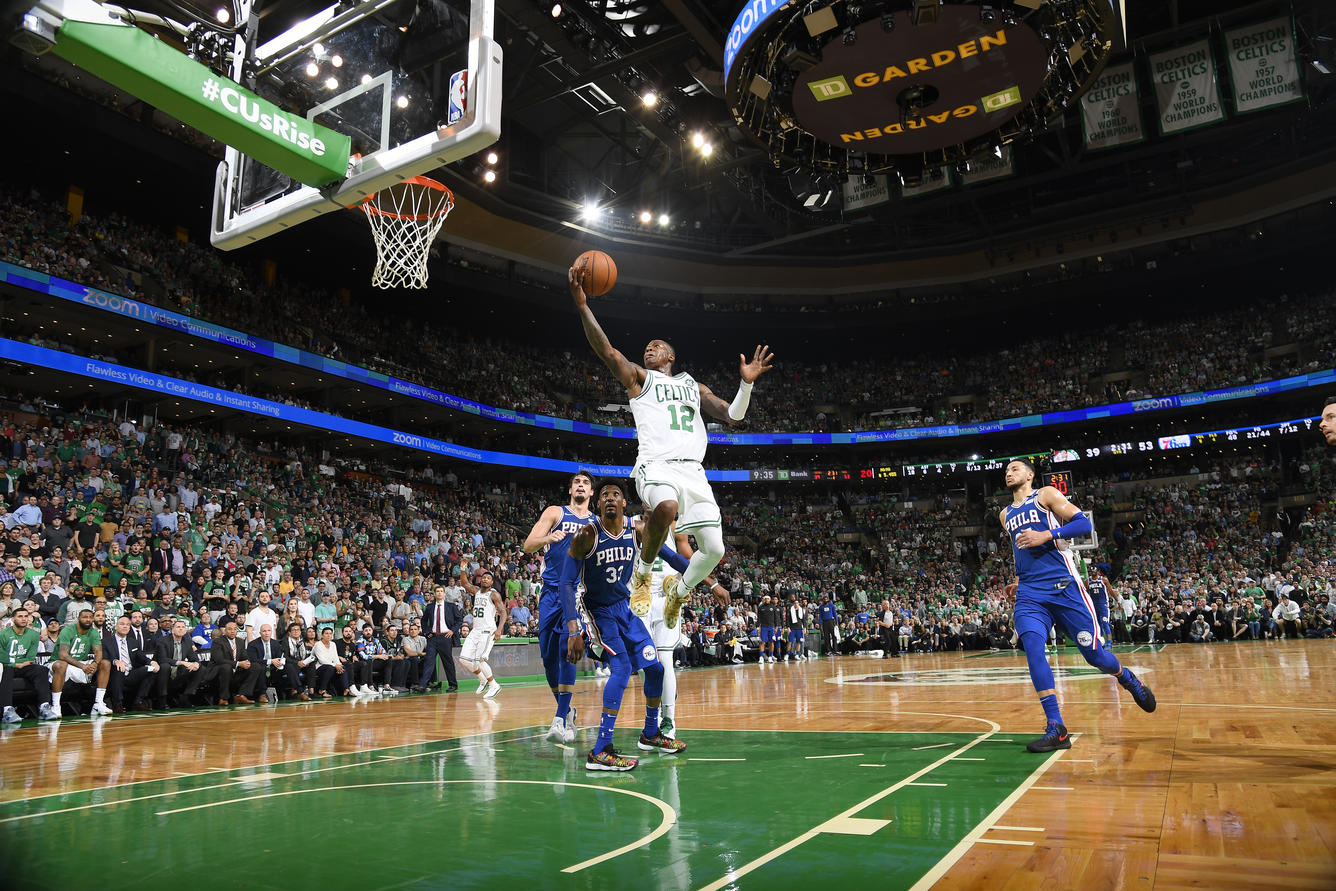 BOSTON, MA - May 3: Terry Rozier #12 of the Boston Celtics shoots the ball against the Philadelphia 76ers  in Game Two of Round Two of the 2018 NBA Playoffs on May 3, 2018 at the TD Garden in Boston, Massachusetts.  (Brian Babineau/NBAE via Getty Images)