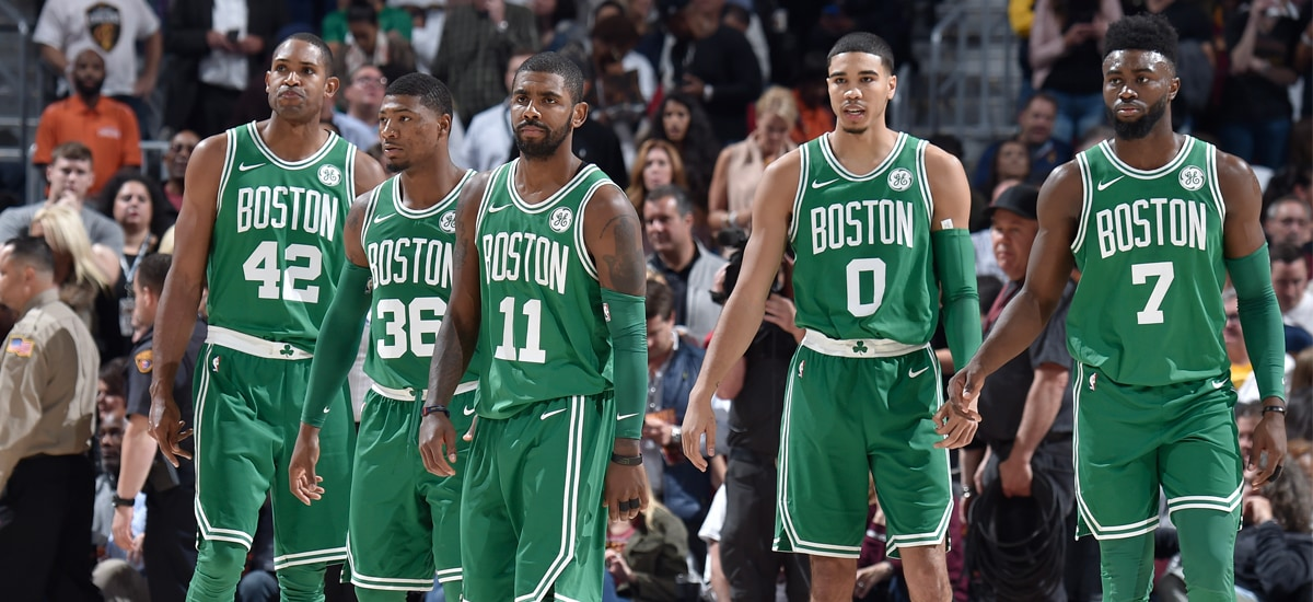 2ae3ee22fb6 Kyrie Irving leads the group of Al Horford, Marcus Smart, Jayson Tatum and  Jaylen