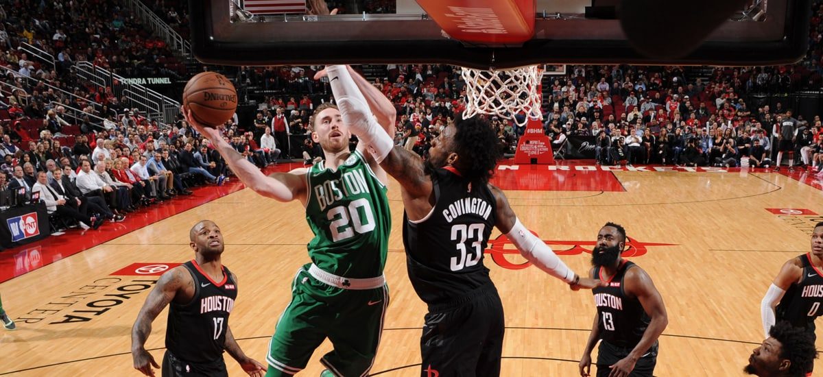 Gordon Hayward drives for a layup against Houston's Robert Covington
