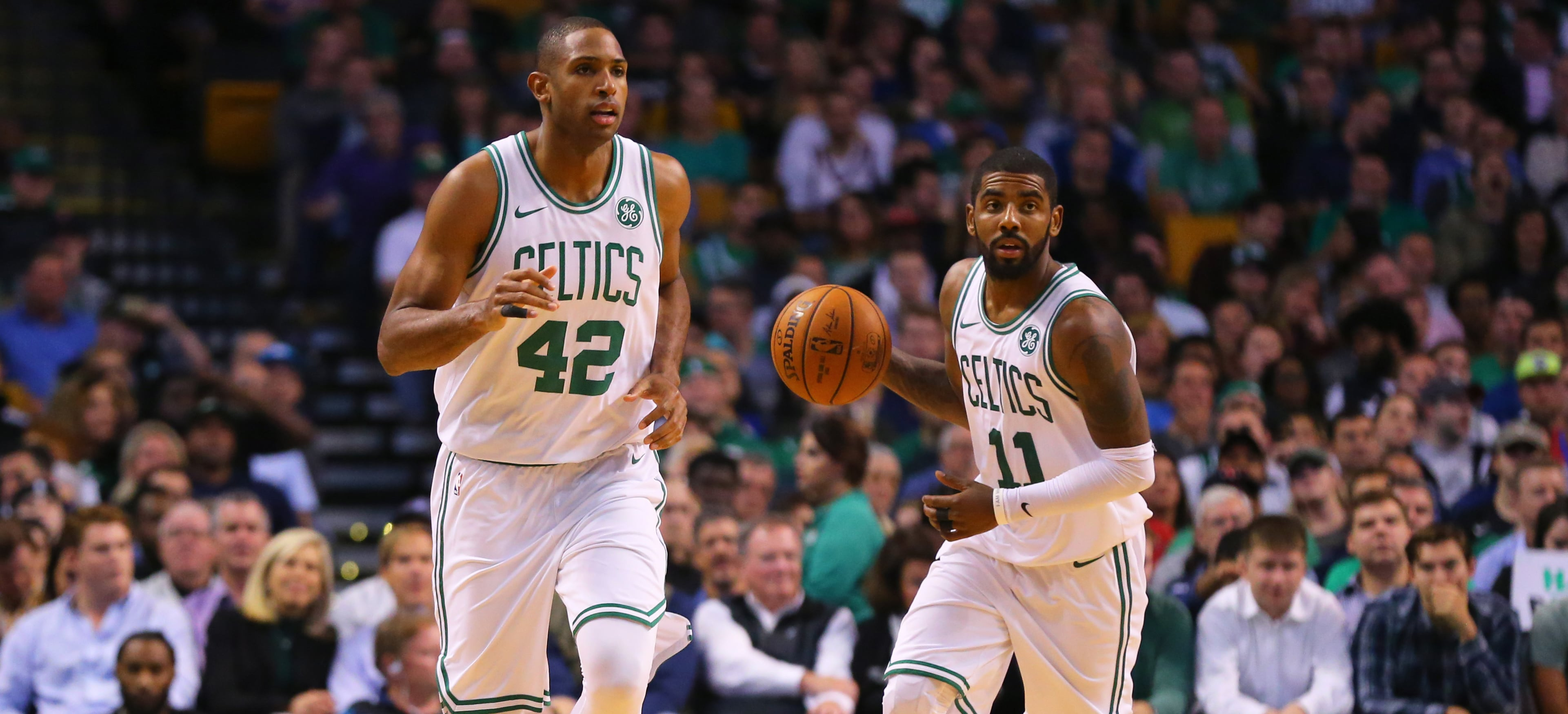 Al Horford and Kyrie Irving on the court