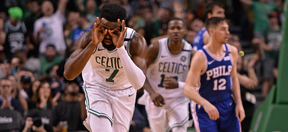 Jaylen Brown celebrates his 3-pointer during Game 5 of the Eastern  Conference Semifinals against 3c8987162