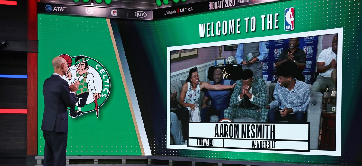 Commissioner Adam Silver welcomes rookie Aaron Nesmith to the NBA