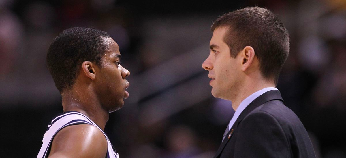 Ron Nored and Brad Stevens look at each other during their days at Butler
