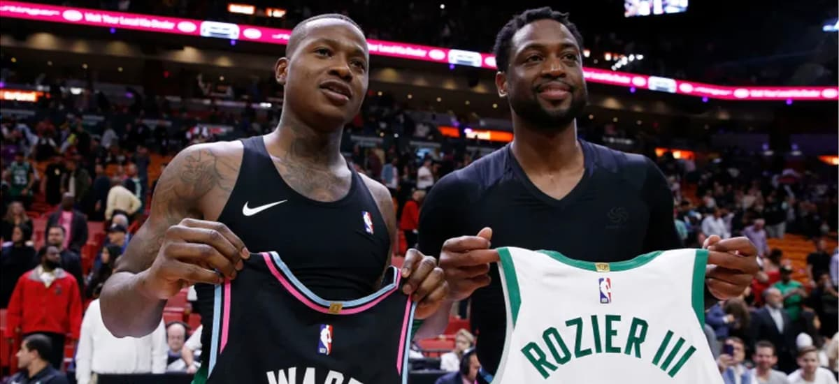 Terry Rozier exchanges jerseys with Dwyane Wade
