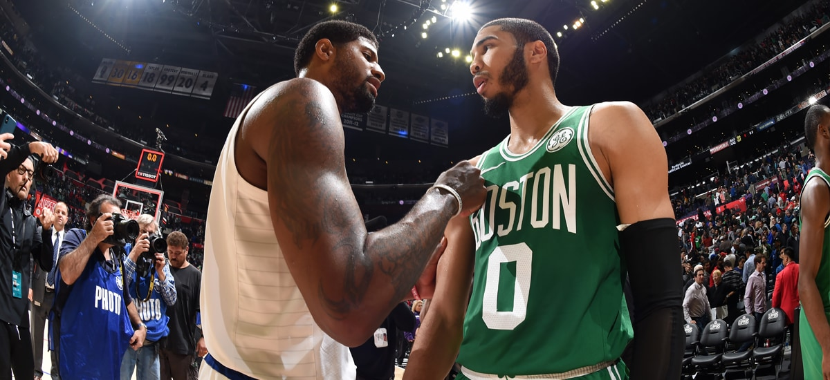 Paul George and Jayson Tatum stand face-to-face after LA's thrilling win over Boston