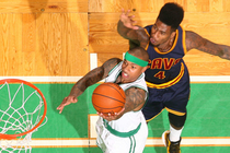 Isaiah Thomas takes a layup against Cleveland