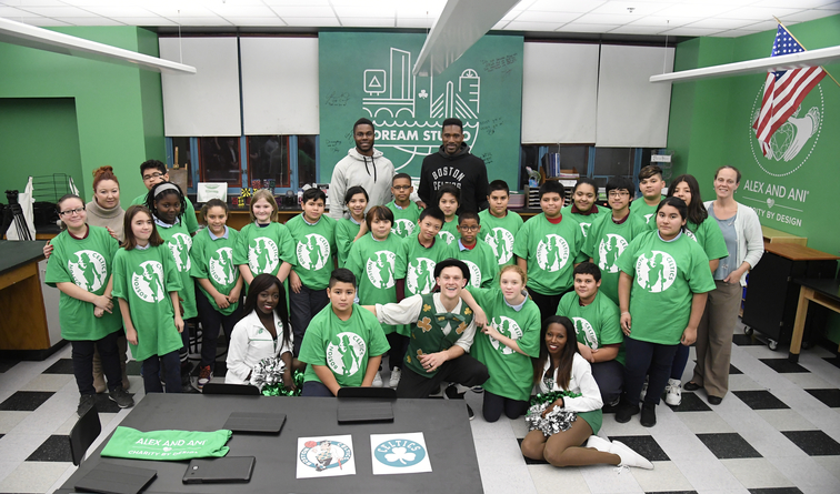 Semi Ojeleye an Students of the Wright Science and Technology Academy in Chelsea, Mass
