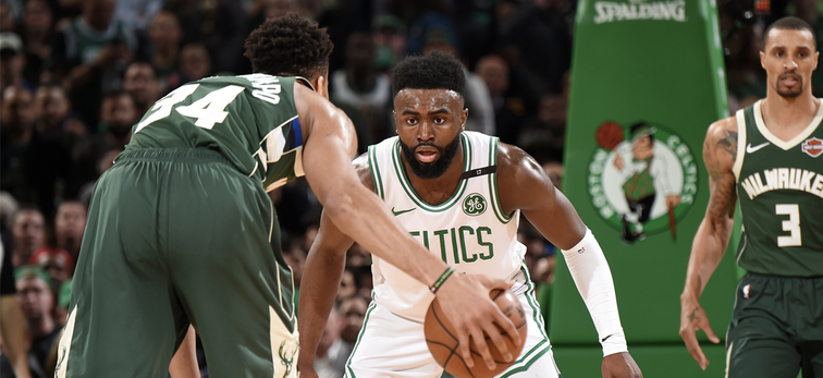 Jaylen Brown defense Giannis Antetokounmpo