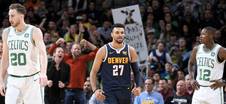 Jamal Murray flexes between Gordon Hayward and Terry Rozier