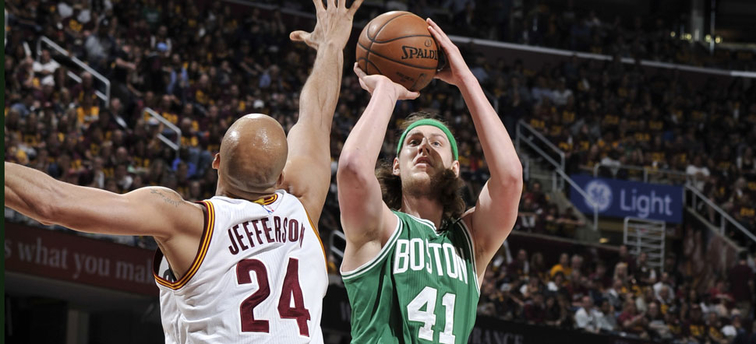 Kelly Olynyk takes a jumper against Cleveland