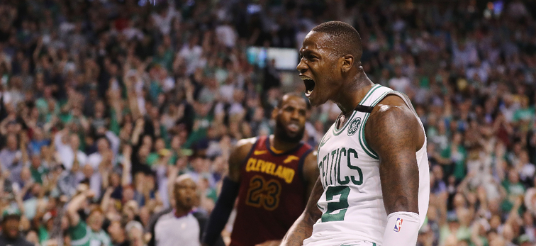 Terry Rozier screams after dunking on LeBron James at TD Garden