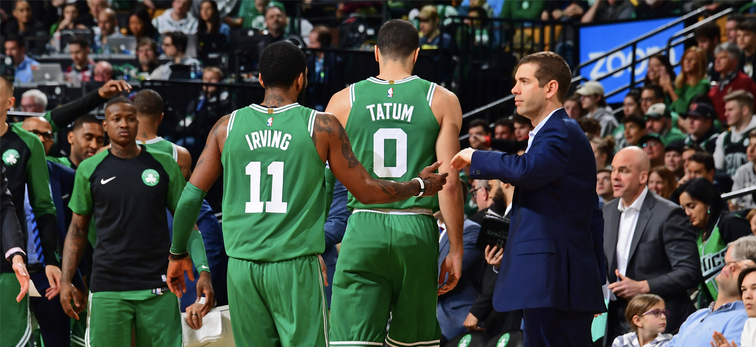 Brad Stevens welcomes Kyrie Irving and Jayson Tatum back to the bench
