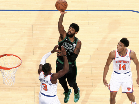 Kyrie Irving takes a floater against New York