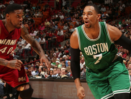 Jared Sullinger heads for the hoop in Miami on Sunday night.