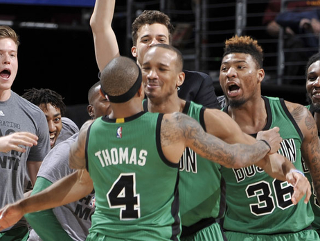 Avery Bradley celebrates game-winner in Cleveland
