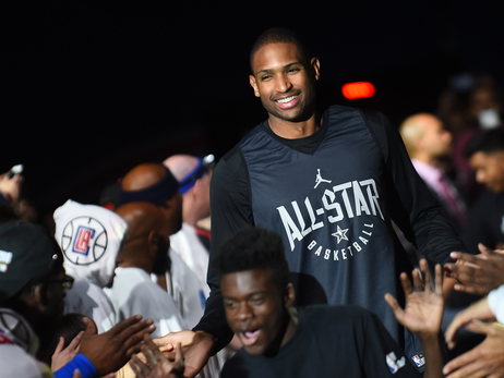 Al Horford is introduced at All-Star practice