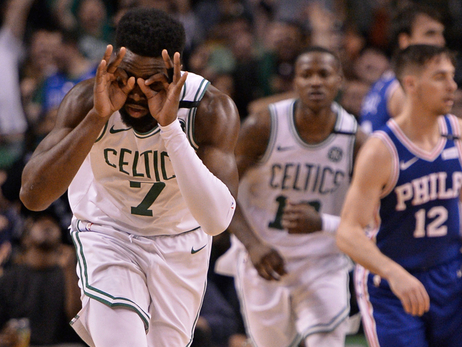 Jaylen Brown celebrates his 3-pointer during Game 5 of the Eastern Conference Semifinals against Philadelphia