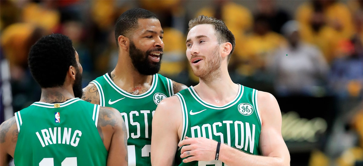 Kyrie Irving, Marcus Morris and Gordon Hayward celebrate in Indy