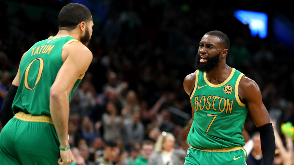 Jayson Tatum and Jaylen Brown celebrate a big win against Denver