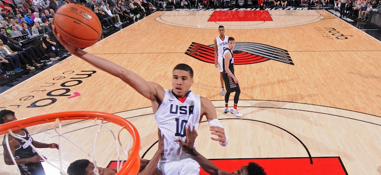 Jayson Tatum shoots a layup for Team USA