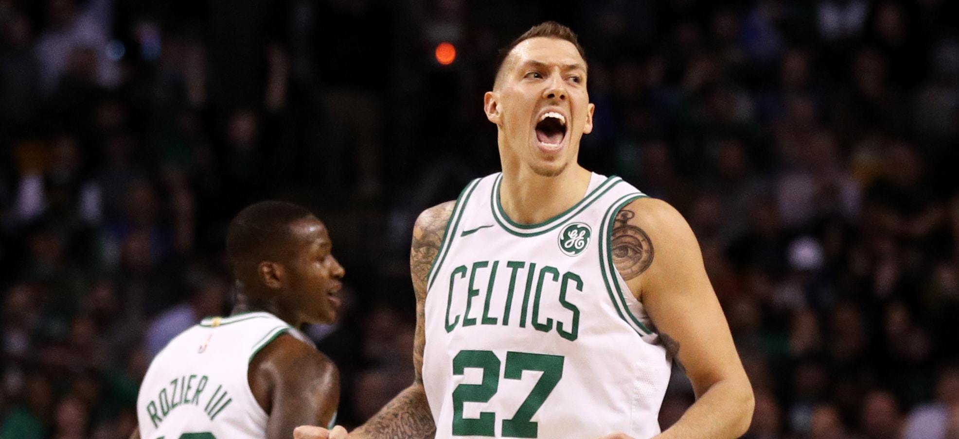 Daniel Theis yells after a play at TD Garden