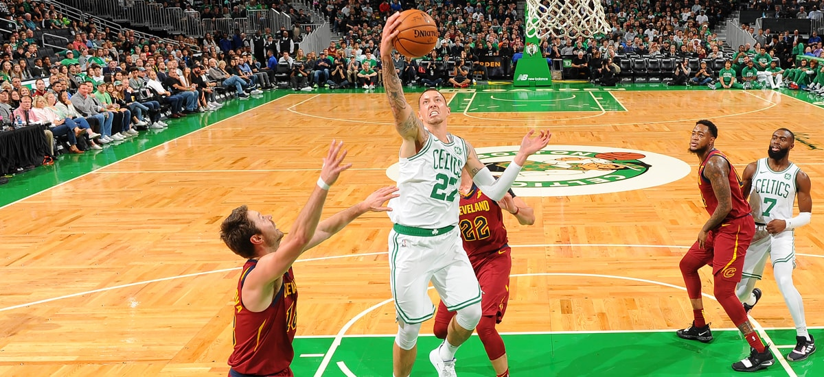 Daniel Theis grabs a rebound against Cleveland